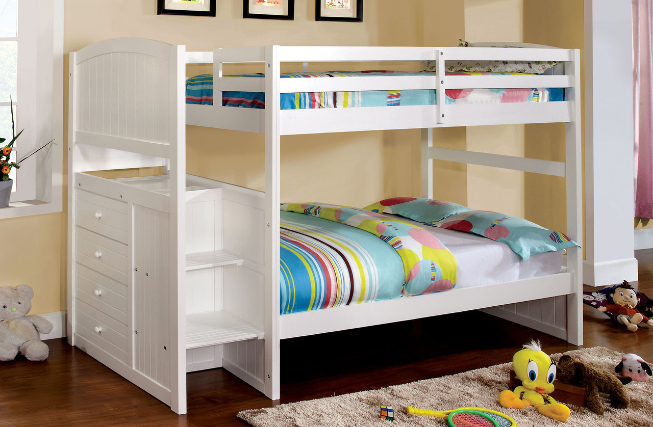 Paloma White Twin Over Twin Bunk Bed With Steps Ocfurniture Com