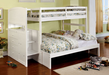 Wood Twin Over Full Bunk Bed with Steps