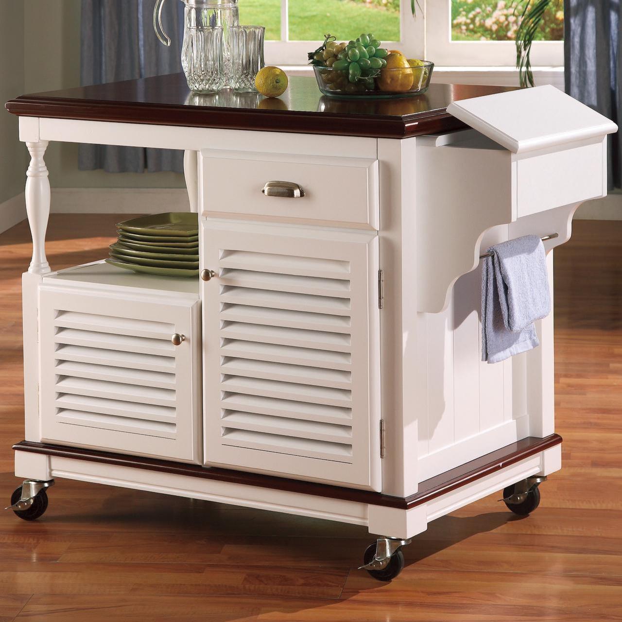 Finola Cherry White Kitchen Cart