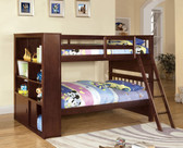 Dark Walnut Twin Bookcase Bunk