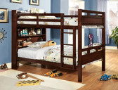 Dark Walnut Wood Bookcase Bunk Bed