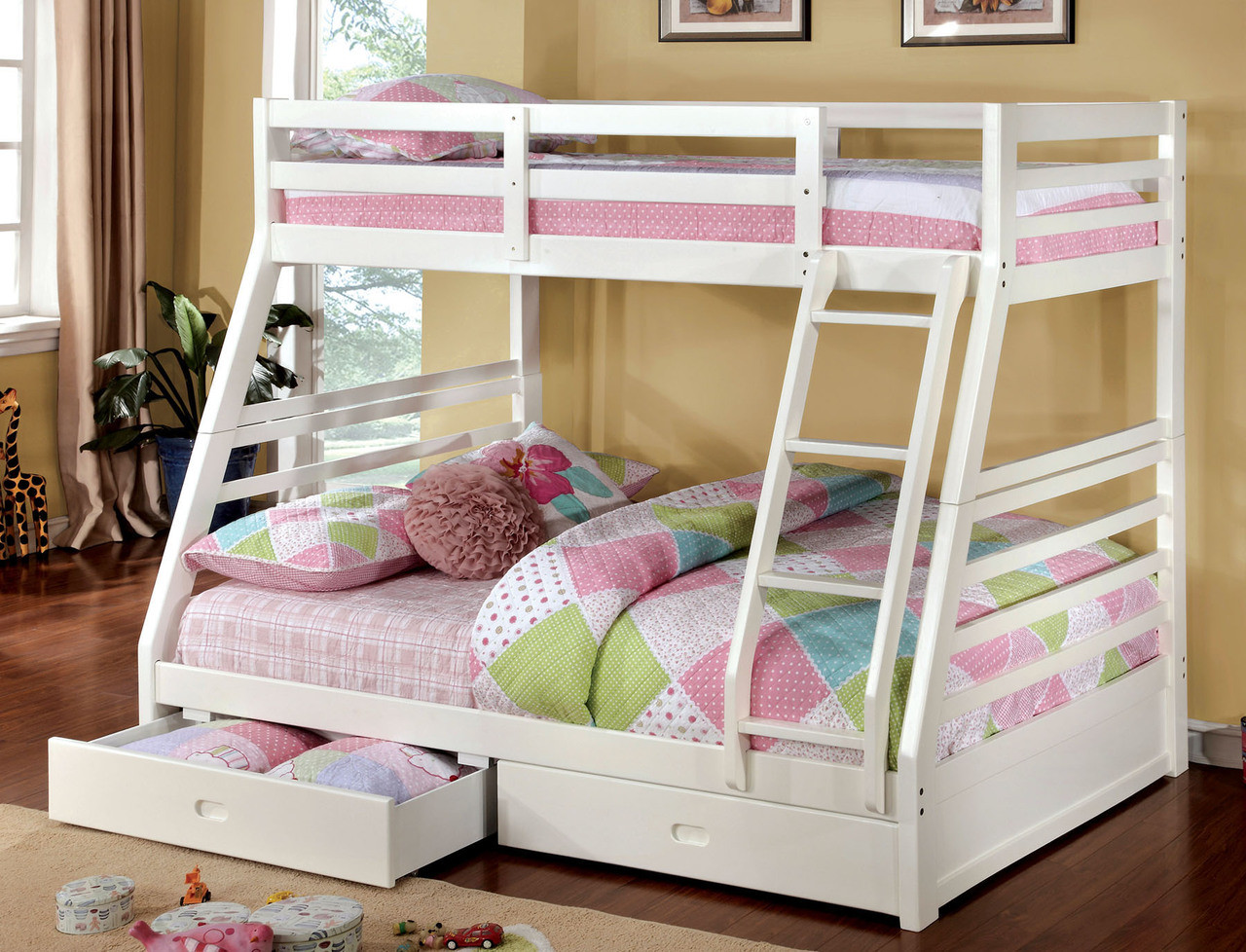 Makaio White Wood Twin Over Full Bunk Bed With Drawers For