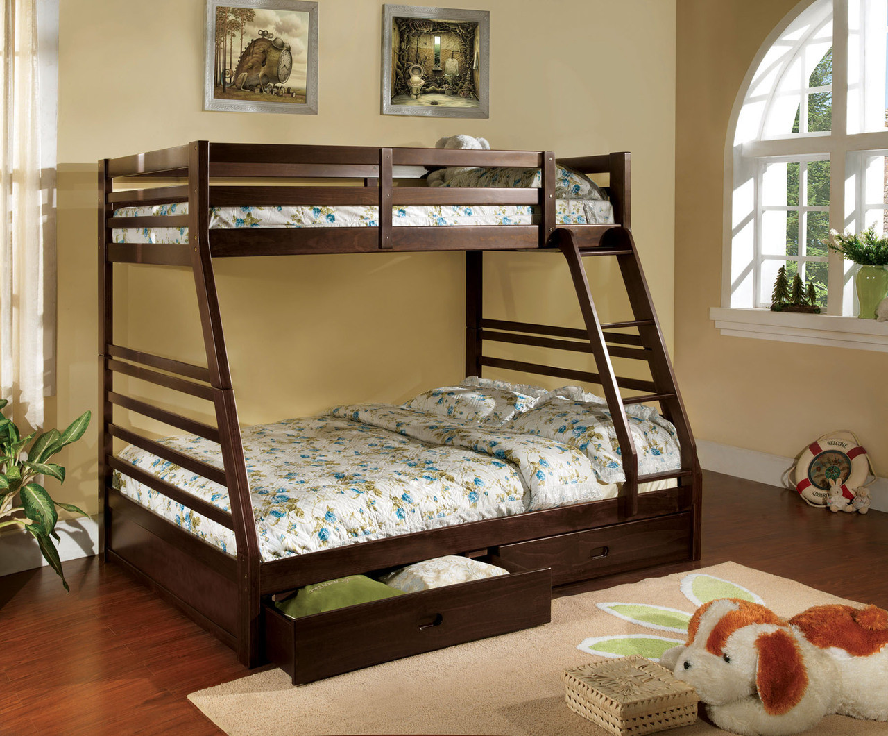 ... Dark Walnut Wood Twin Over Full Bunk Bed With Drawers