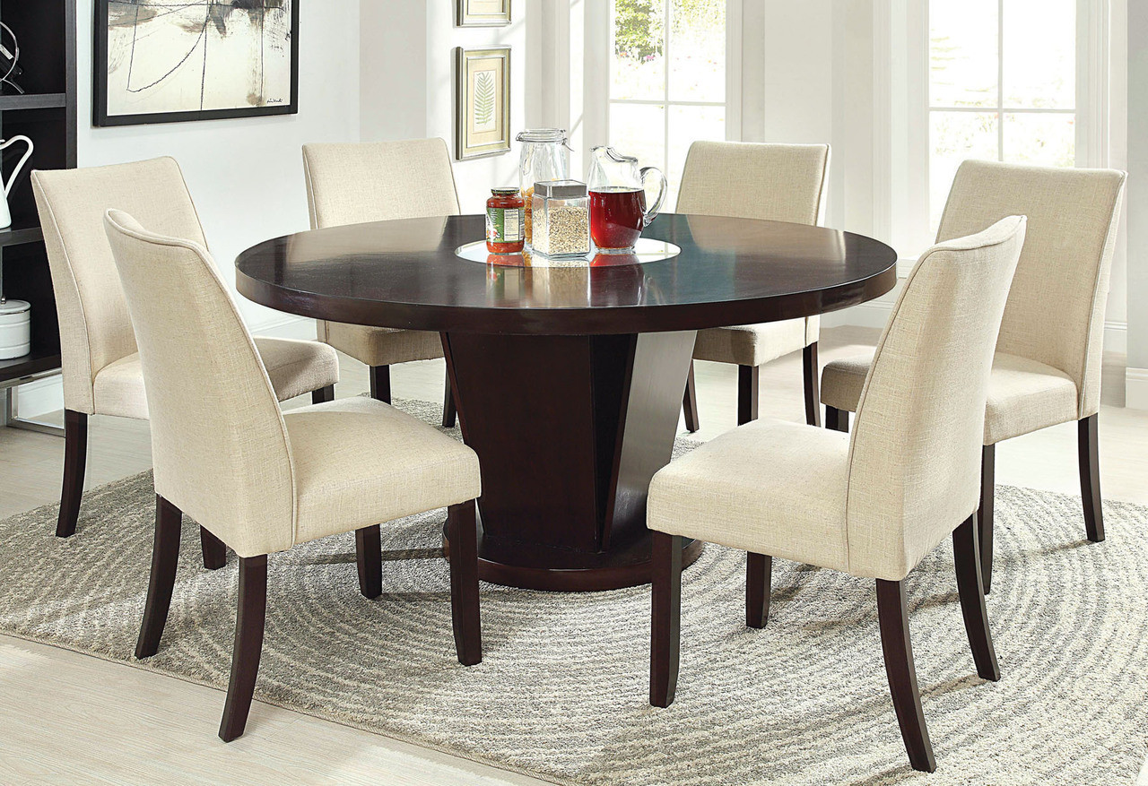 60 Kitchen Table Alluring 60 Inch Rees Espresso Round Dining Table With Lazy Susan Design Inspiration