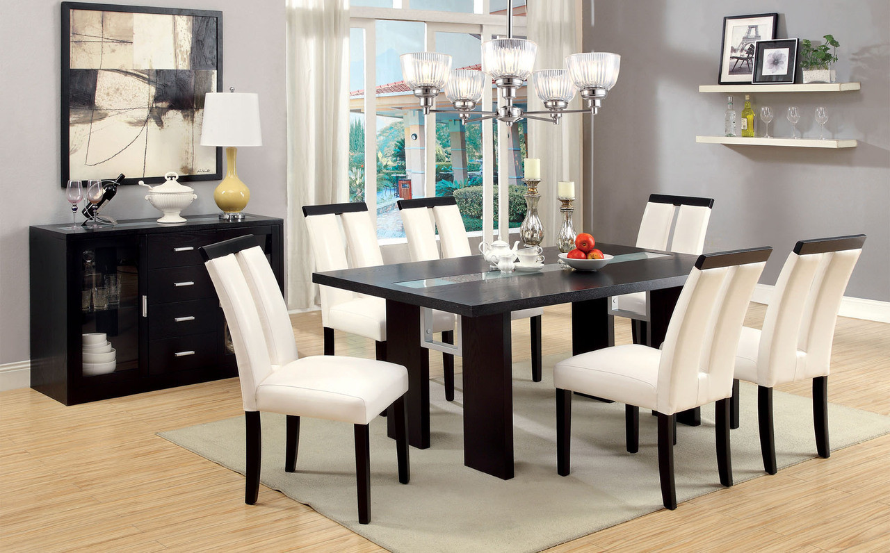 ... Contemporary Dining Table Set with Lights & Antonella Espresso Contemporary Dining Table Set with Lights