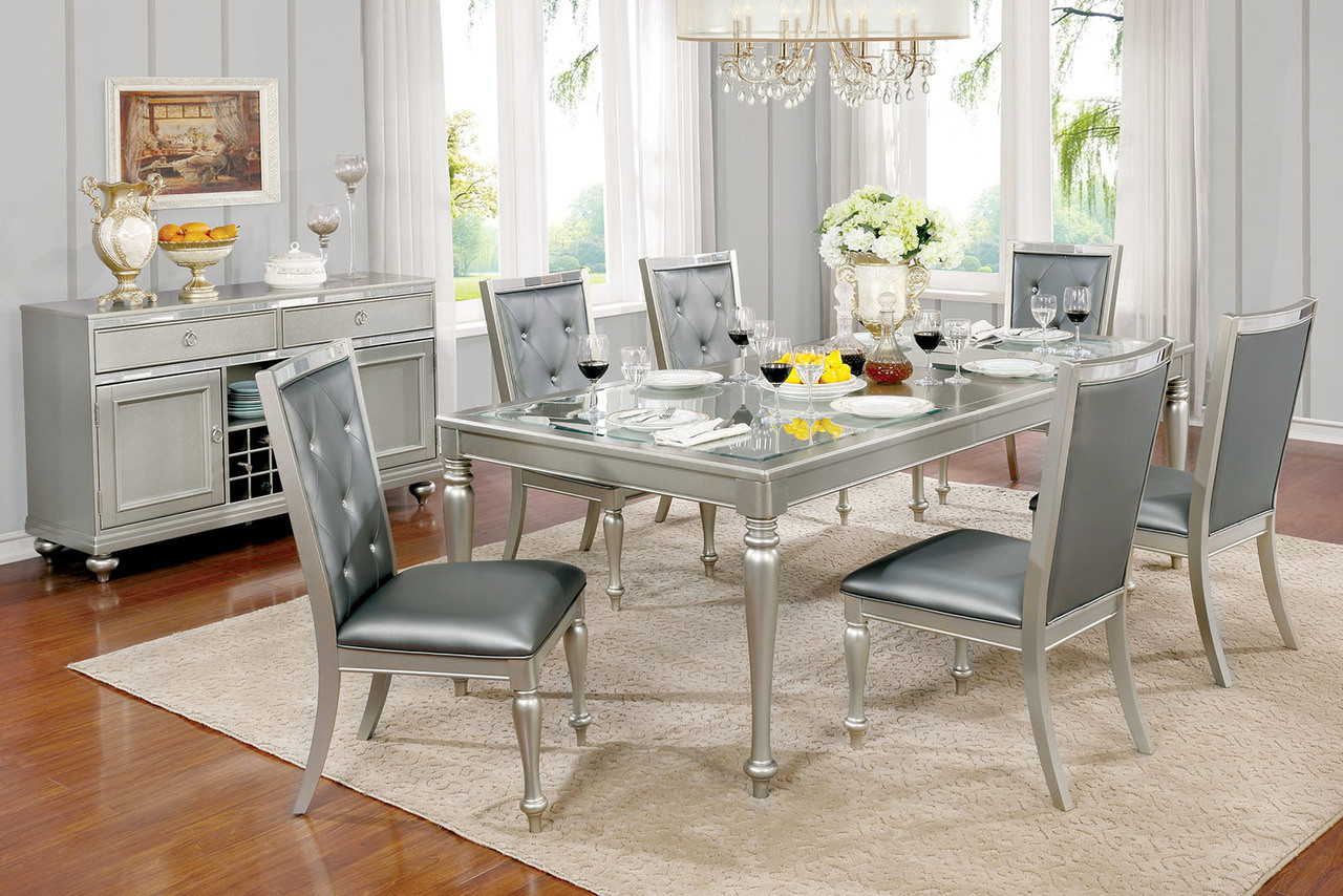Furniture Of America CM3229T Silver Gray Dining Set | Luxurious Contemporary  Dining Table With Six Chairs ...