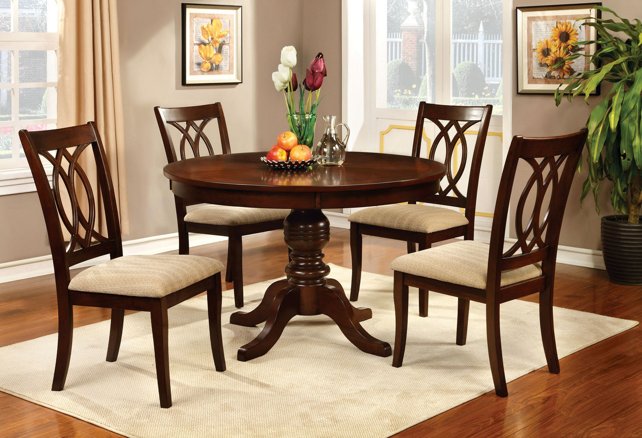 Jawdat Brown Cherry Round Dining Table Set | Round Dining Sets