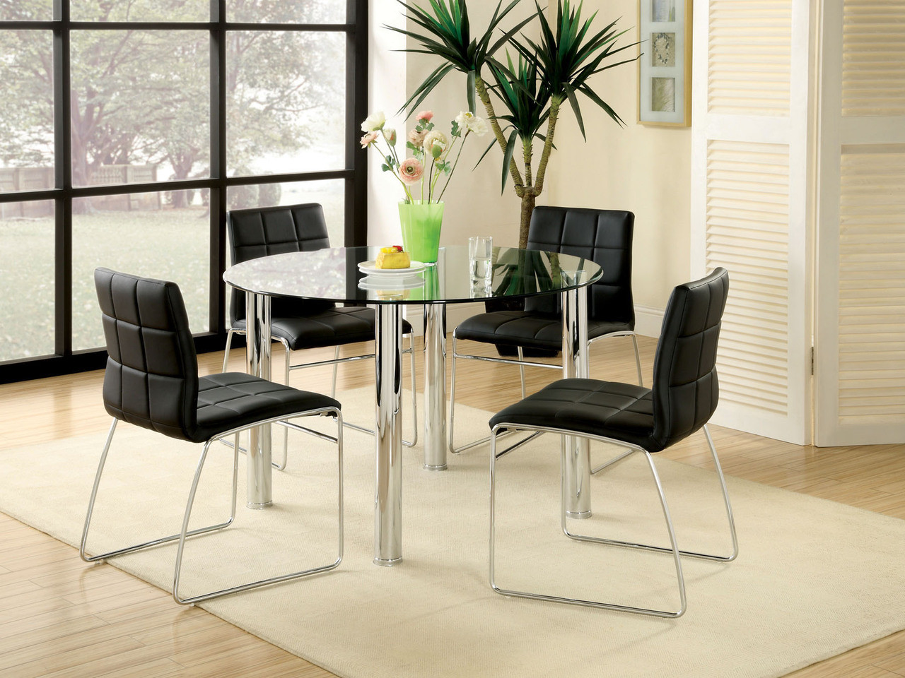 Round Glass Dining Room Set With Black Chairs ...