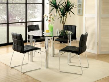 Adalia Round Glass Chrome Table Set