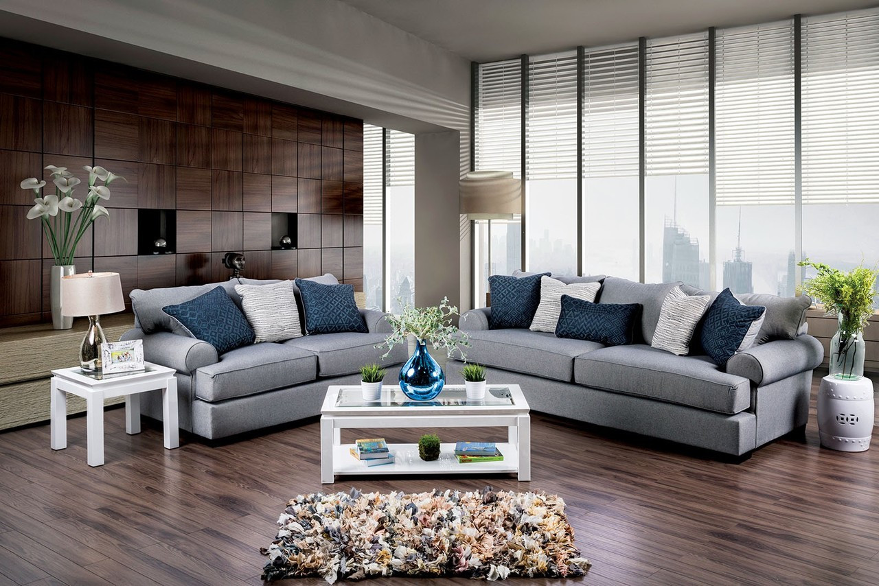 ... SM1271 Gray Fabric Living Room Set ...