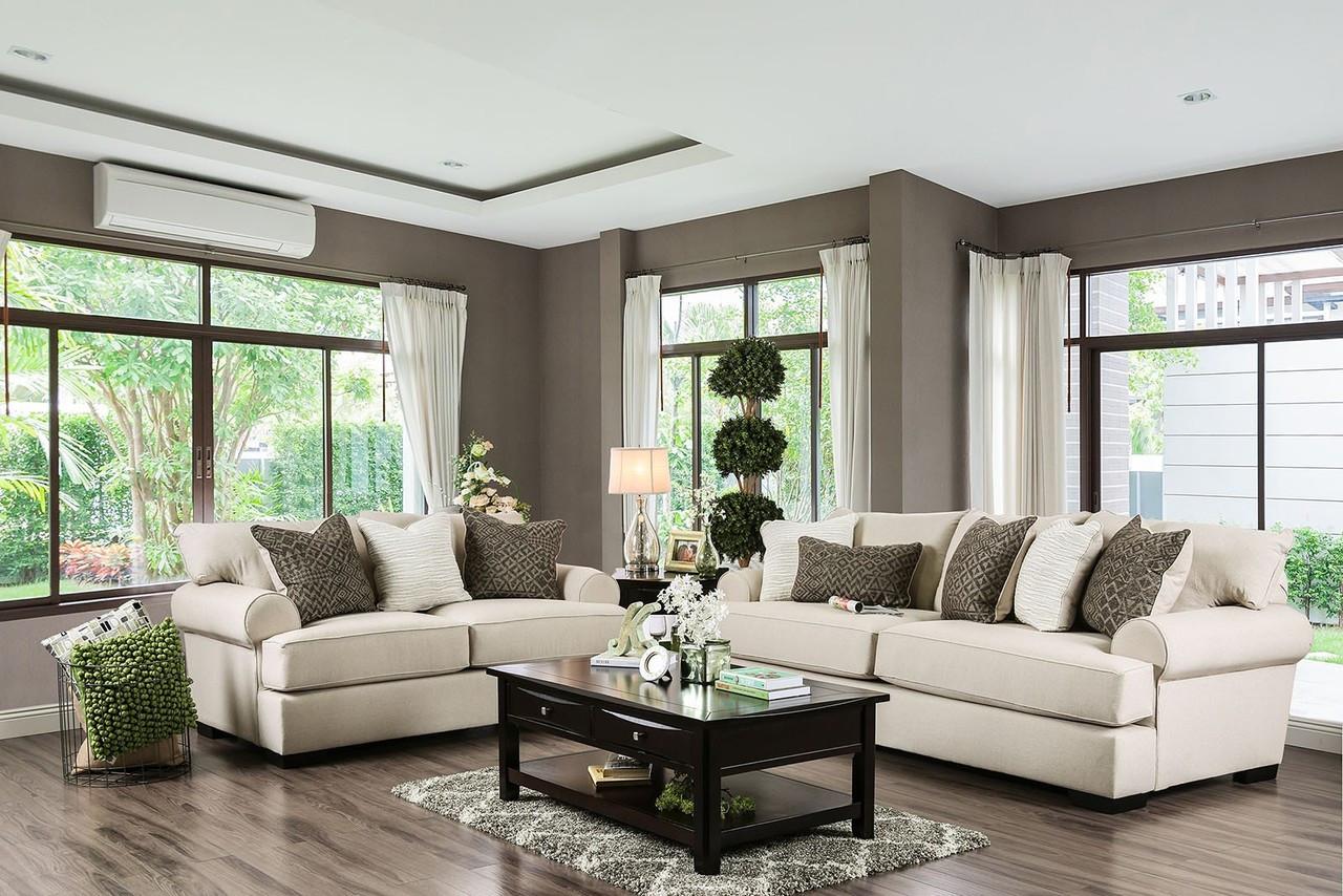 Superb SM1272 Beige Fabric Living Room SetFurniture Of America SM1271 Premium  Fabric Love Seat