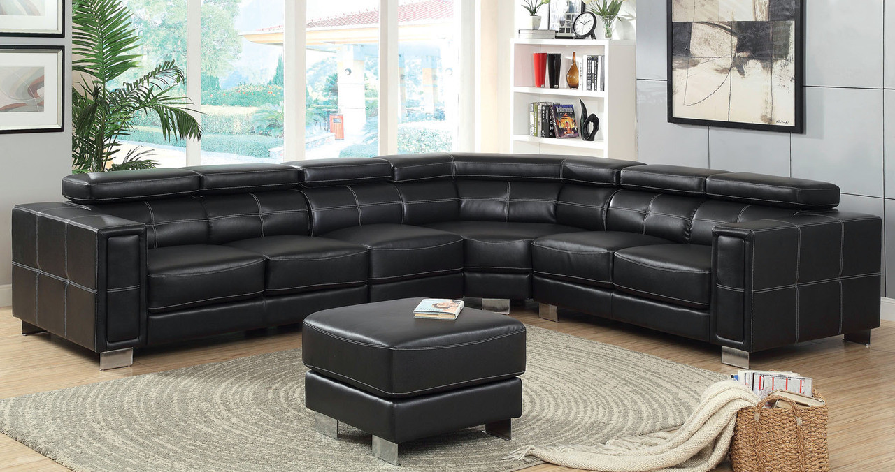 Andreina Black Bonded Leather Match Sectional Sofa