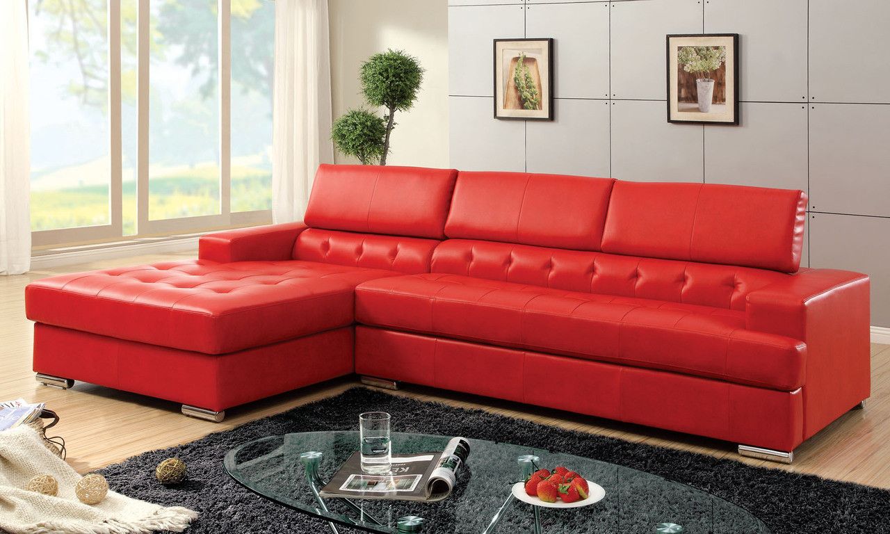 Bertrand Red Bonded Leather Match Sectional Sofa