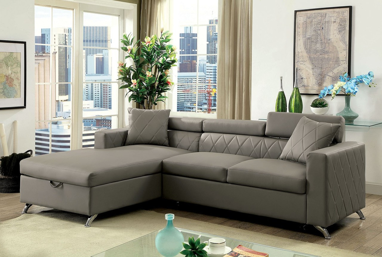 Dayna CM6292 Gray Sectional Sofa | Furniture of America Sectional with Pullout Sleeper Bed ... : gray sectional couches - Sectionals, Sofas & Couches