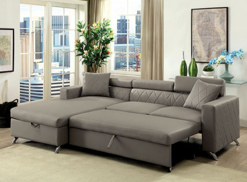 Dayna CM6292 Gray Sectional Couch with Pull Out Bed