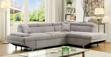 Furniture of America CM6124 Sectional With Sleeper Bed in Gray