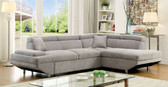 Furniture of America CM6124 Sectional With Sleeper Bed | FOREMAN Gray Fabric Sectional Sofa with Bed