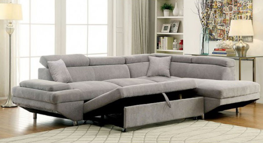 Furniture of America CM6124 Sectional With Sleeper Bed