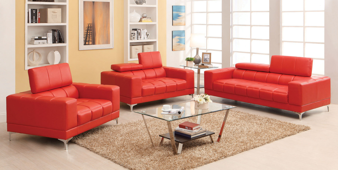 red leather living room set. Red Bonded Leather Living Room Set  Fantine Sofas Love Seats