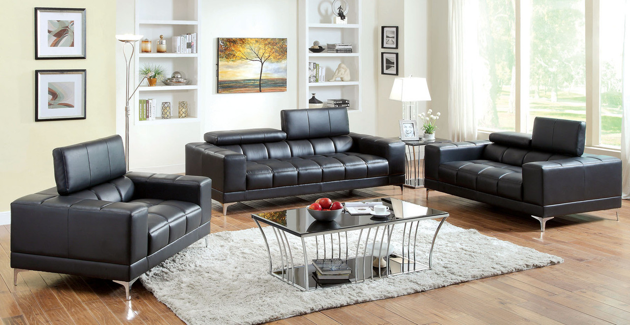 Fantine Red Bonded Leather Living Room Set