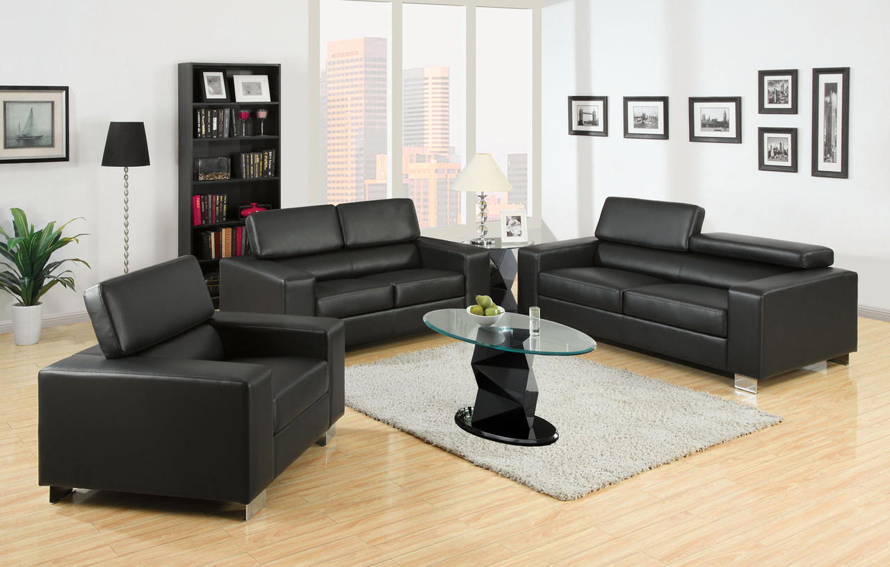 Felix Black Bonded Leather Living Room Set