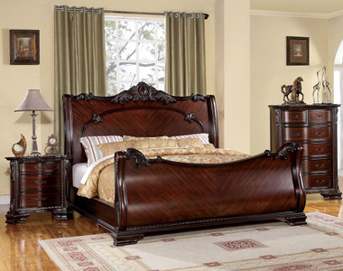 Brown Cherry Traditional Sleigh Bed