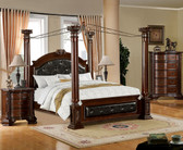 Brown Cherry Baroque Canopy Bed
