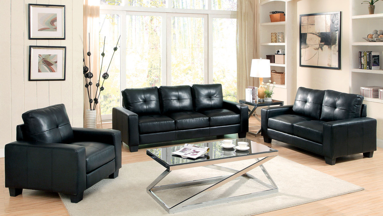 domenica black bonded leather living room set. Black Bedroom Furniture Sets. Home Design Ideas