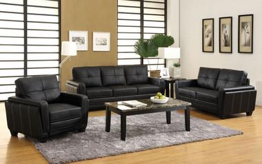 Black Leatherette Living Room Set