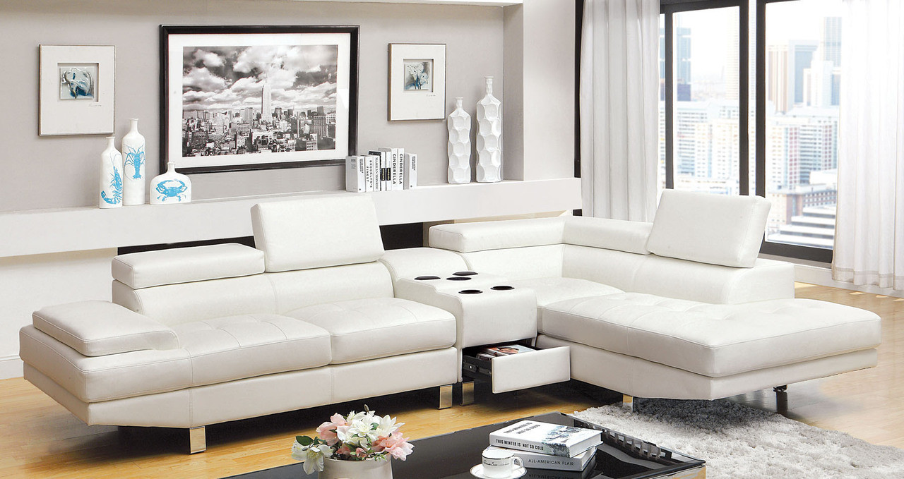 Emiliano White Bonded Leather Sectional Couch