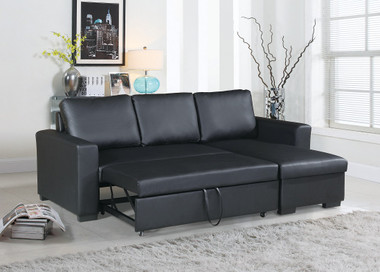 Convertible Sectional with Right Facing Chaise with Pullout Bed in Black