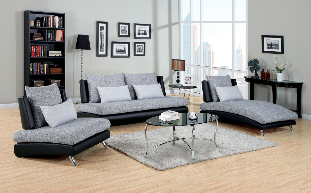 Grazia gray black living room set chaise chair sofa - Black and gray living room furniture ...