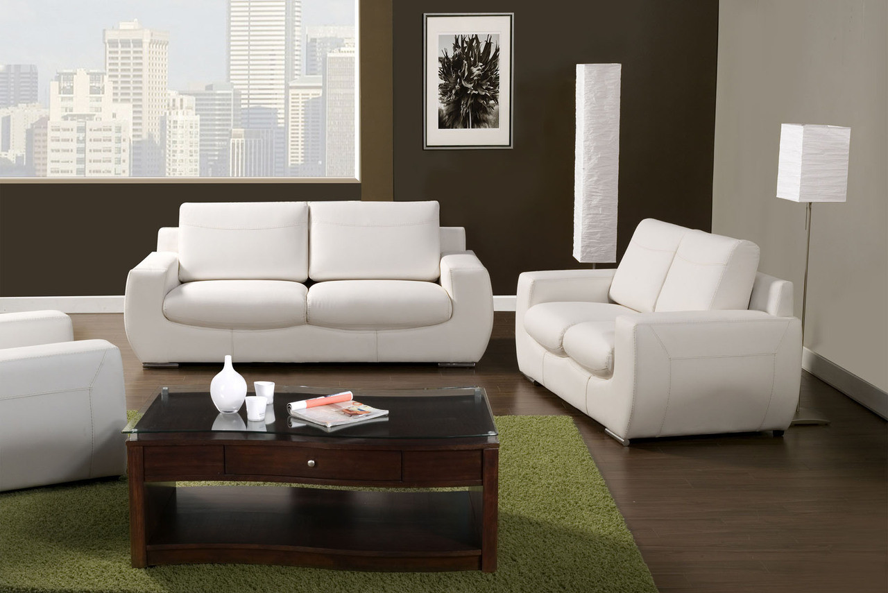 Gianmarco White Bonded Leather Living Room Set