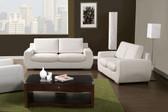 White Bonded Leather Living Room Set