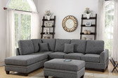 Poundex F6511 2-PCS Sectional Sofa w/ Reversible Chaise in Ash Black