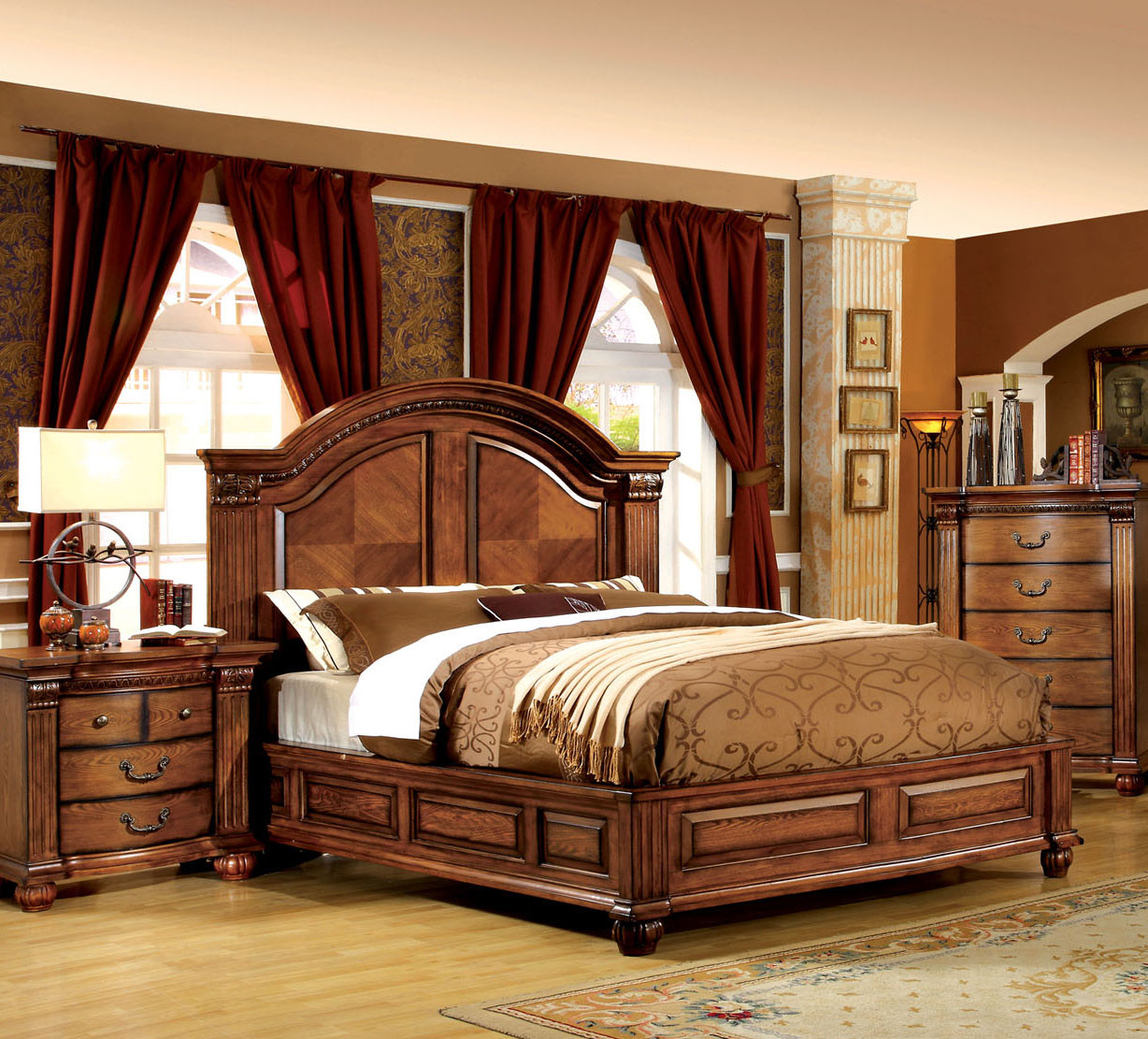 Madeline Queen Antique Tobacco Oak Traditional Bed