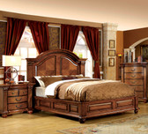Queen Antique Tobacco Oak Bed with High Headboard
