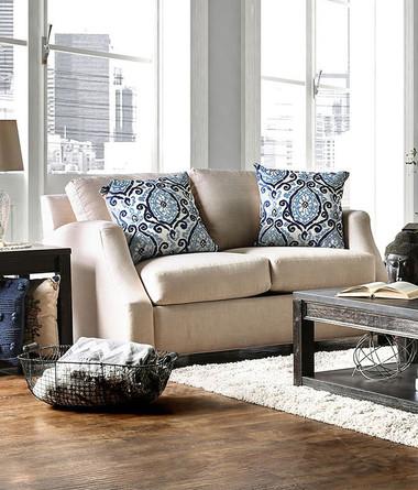 Furniture of America SM3057 Beige Fabric Love Seat | BELTRAN Beige Love Seat