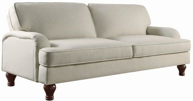 Upholstered Beige Fabric Sofa Bed