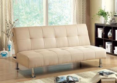 Ivory Fabric Futon Sofa | Adjustable Sleeper