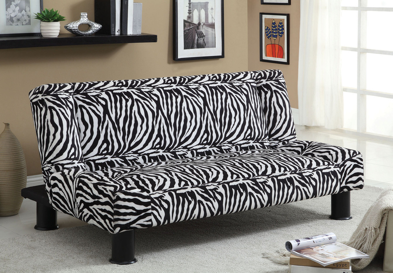 ... Zebra Fabric Futon Sofa Bed