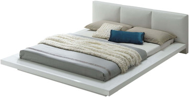 Christie High Gloss White Upholstered Bed