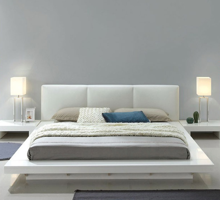 Christie High Gloss White Upholstered Platform Bed Low