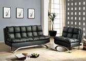 Black Leatherette Futon Sofa Bed Set