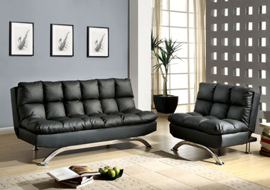 Black Leatherette Futon Sofa Set