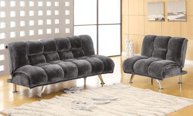 Gray Fabric Convertible Futon Sofa