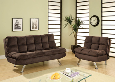 Porto Brown Microfiber Futon Sofa Bed Set Orange County