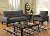 Charcoal Fabric Futon Sofa Bed Set