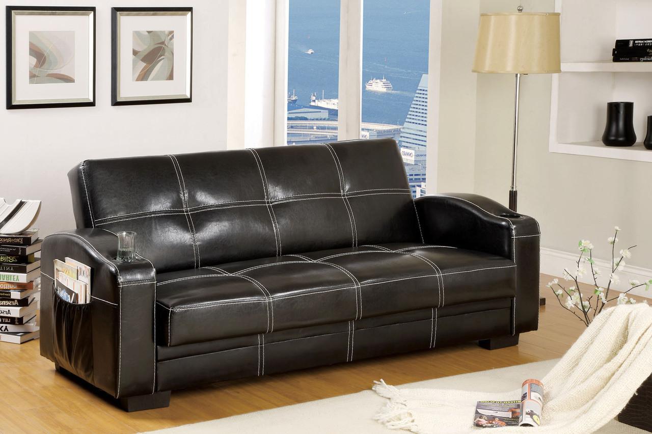Yohan Black Leatherette Futon Sofa Sleeper