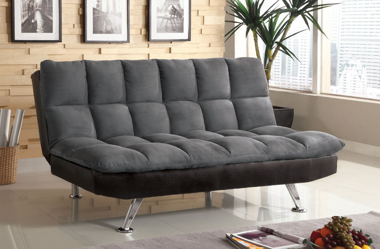 Nando Gray Microfiber Futon Sofa Bed | Orange County